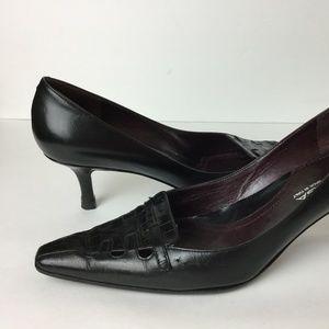 Via Spiga . Black  Leather  Heel Italy